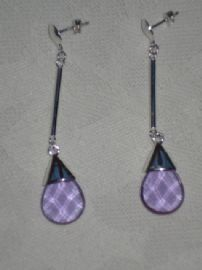 Faceted Purple Crystal Drop Earrings on Silver Earwires